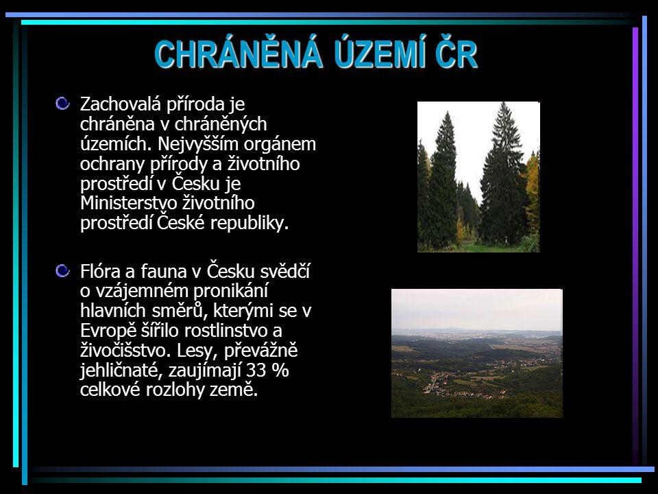 CHRÁNĚNÁ ÚZEMÍ ČR Zachovalá příroda je chráněna v chráněných územích.