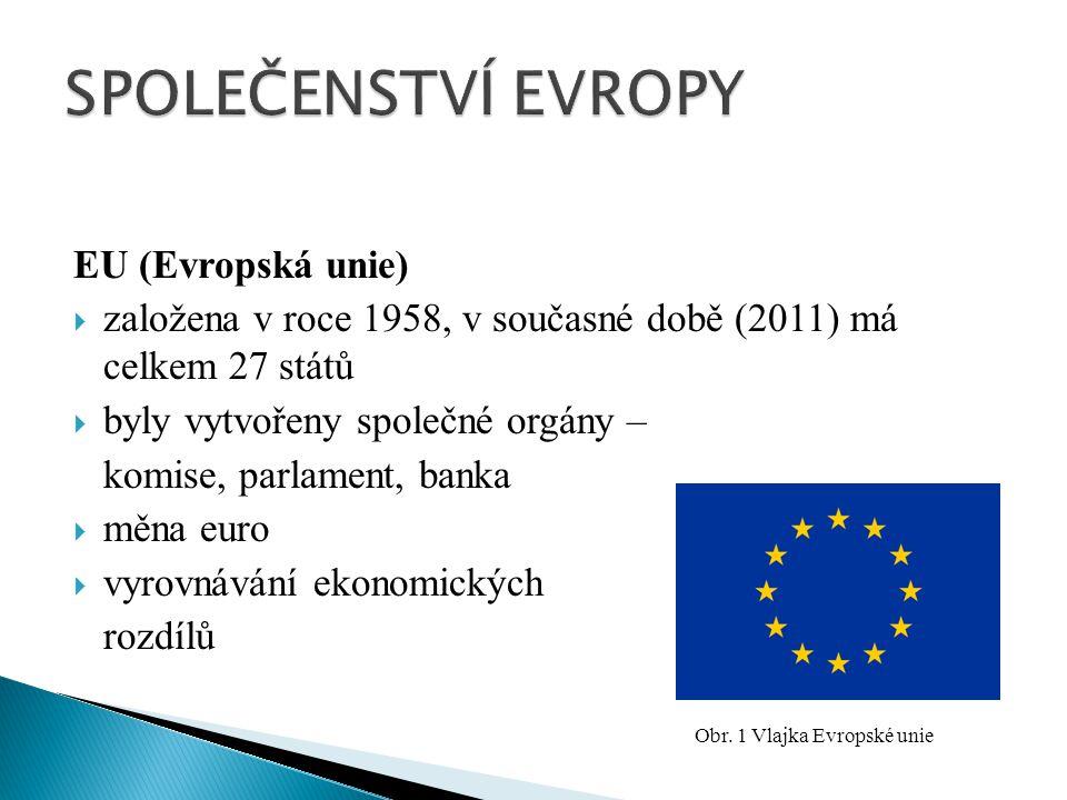 EU (Evropská unie)  založena v roce 1958, v současné době (2011) má celkem 27 států  byly vytvořeny společné orgány – komise, parlament, banka  měna euro  vyrovnávání ekonomických rozdílů Obr.