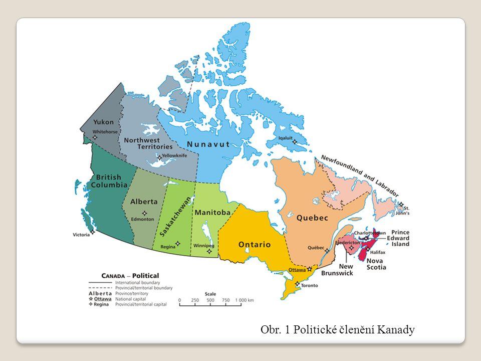 Obr. 1 Politické členění Kanady