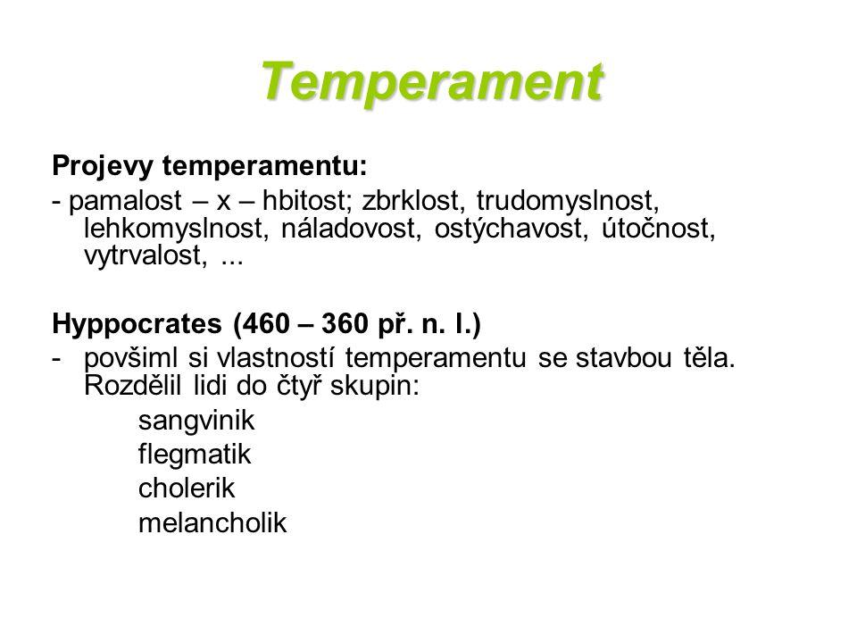 Temperament Projevy temperamentu: - pamalost – x – hbitost; zbrklost, trudomyslnost, lehkomyslnost, náladovost, ostýchavost, útočnost, vytrvalost,...