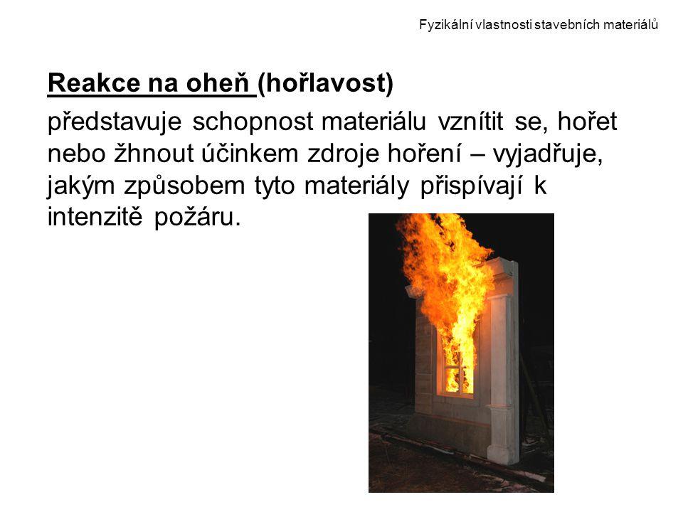 Fyzikální vlastnosti stavebních materiálů Reakce na oheň (hořlavost) představuje schopnost materiálu vznítit se, hořet nebo žhnout účinkem zdroje hoře