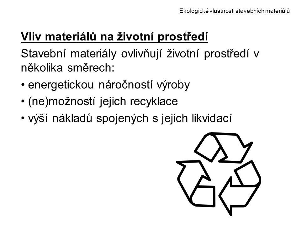 Ekologické vlastnosti stavebních materiálů Vliv materiálů na životní prostředí Stavební materiály ovlivňují životní prostředí v několika směrech: ener