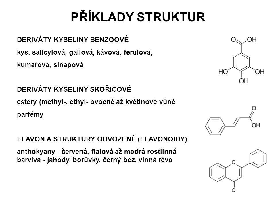 PŘÍKLADY STRUKTUR DERIVÁTY KYSELINY BENZOOVÉ kys. salicylová, gallová, kávová, ferulová, kumarová, sinapová DERIVÁTY KYSELINY SKOŘICOVÉ estery (methyl