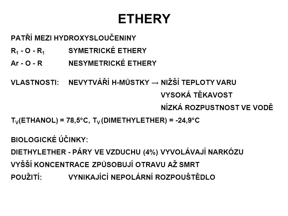 ETHERY PATŘÍ MEZI HYDROXYSLOUČENINY R 1 - O - R 1 SYMETRICKÉ ETHERY Ar - O - RNESYMETRICKÉ ETHERY VLASTNOSTI:NEVYTVÁŘÍ H-MŮSTKY → NIŽŠÍ TEPLOTY VARU V