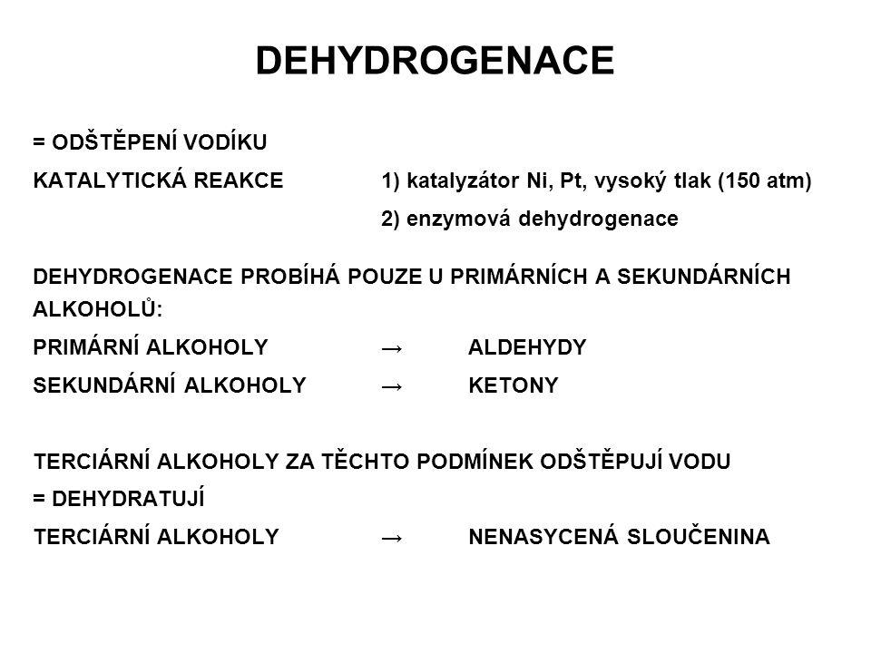 OXIDACE ZA RŮZNÝCH PODMÍNEK:MÍRNÁ NEBO ENERGICKÁ MÍRNÁ OXIDACE: PRIMÁRNÍ ALKOHOL → MONOTOPICKÝ DIOL → ALDEHYD SEKUNDÁRNÍ ALKOHOL →MONOTOPICKÝ DIOL → KETON TERCIÁRNÍ ALKOHOL → reakce neprobíhá VZNIKLÉ ALDEHYDY MOHOU OXIDOVAT AŽ NA KYSELINY ENERGICKÁ OXIDACE: OXIDAČNÍ ŠTEPENÍ MOLEKULY ZA VZNIKU SMĚSI KYSELIN TAKTO PROBÍHÁ U VŠECH TYPŮ ALKOHOLŮ, ZEJMÉNA SEKUNDÁRNÍCH A TERCIÁRNÍCH