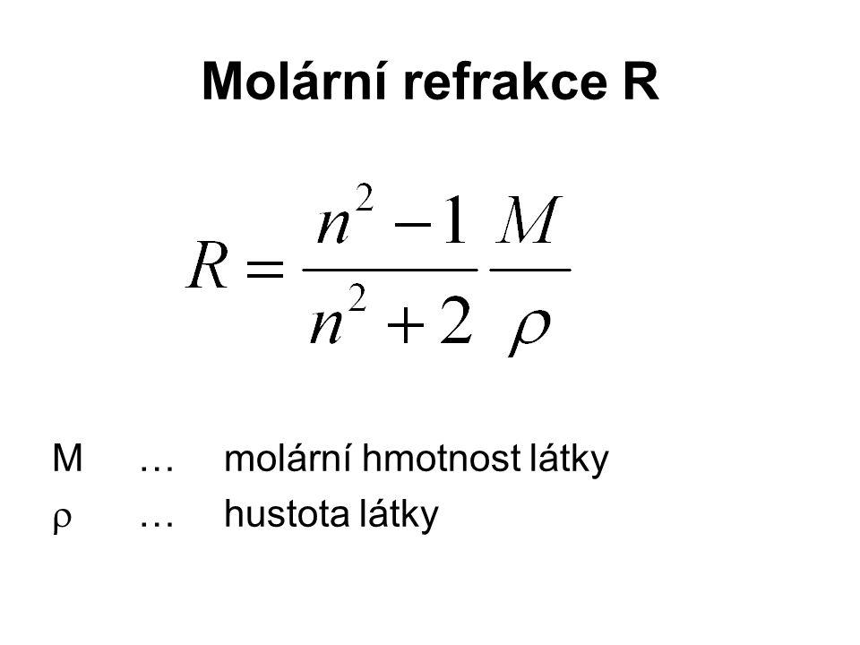 Molární refrakce R M… molární hmotnost látky  …hustota látky