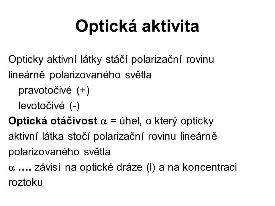 Optická aktivita Opticky aktivní látky stáčí polarizační rovinu lineárně polarizovaného světla pravotočivé (+) levotočivé (-) Optická otáčivost  = úh