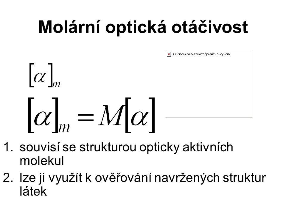 Molární optická otáčivost 1.souvisí se strukturou opticky aktivních molekul 2.lze ji využít k ověřování navržených struktur látek