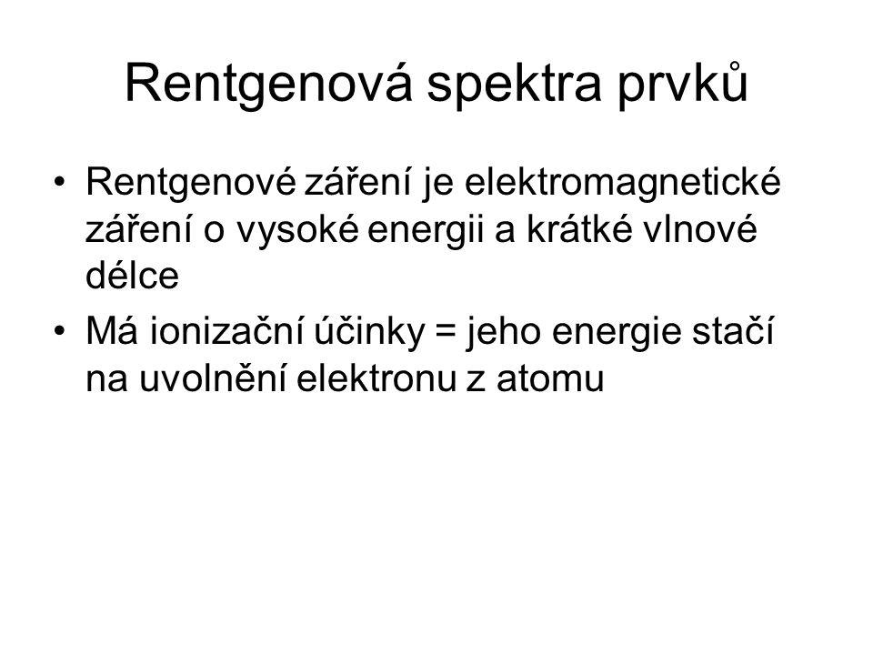 Rentgenová spektra prvků Rentgenové záření je elektromagnetické záření o vysoké energii a krátké vlnové délce Má ionizační účinky = jeho energie stačí