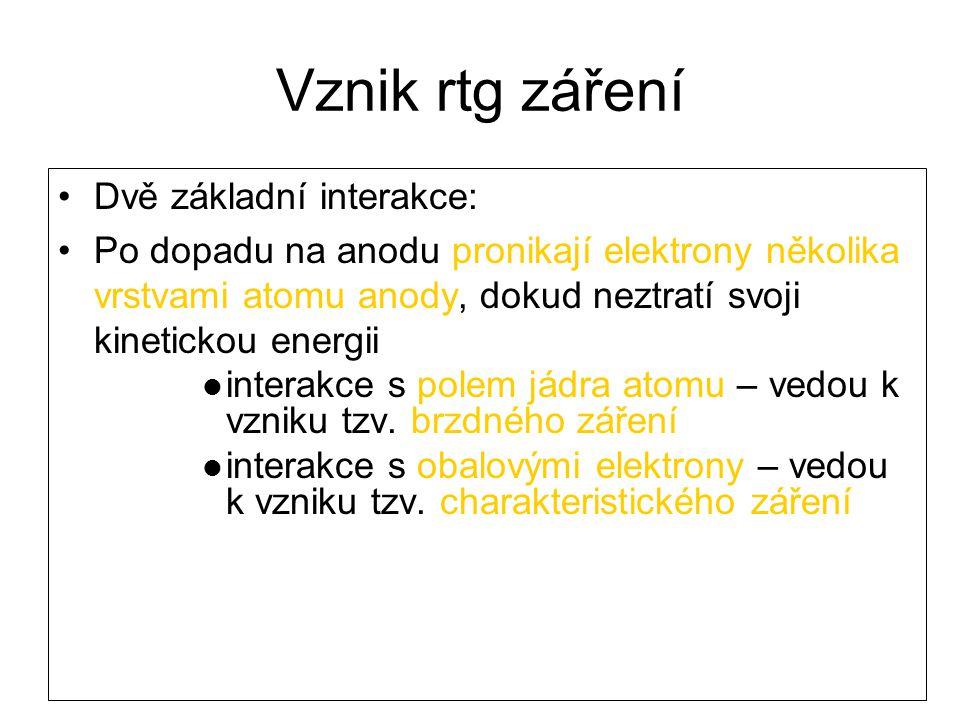 Vznik rtg záření Dvě základní interakce: Po dopadu na anodu pronikají elektrony několika vrstvami atomu anody, dokud neztratí svoji kinetickou energii