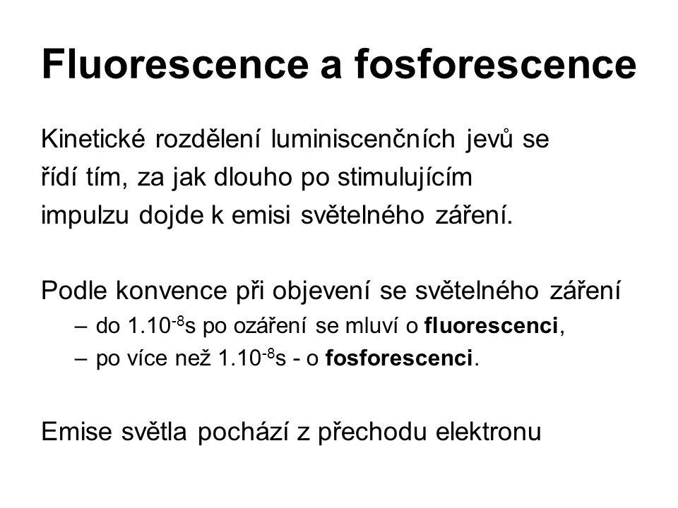Fluorescence a fosforescence Kinetické rozdělení luminiscenčních jevů se řídí tím, za jak dlouho po stimulujícím impulzu dojde k emisi světelného záře