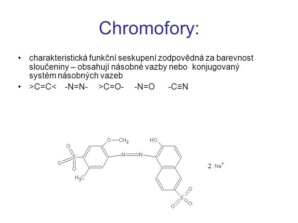 Chromofory: charakteristická funkční seskupení zodpovědná za barevnost sloučeniny – obsahují násobné vazby nebo konjugovaný systém násobných vazeb >C=