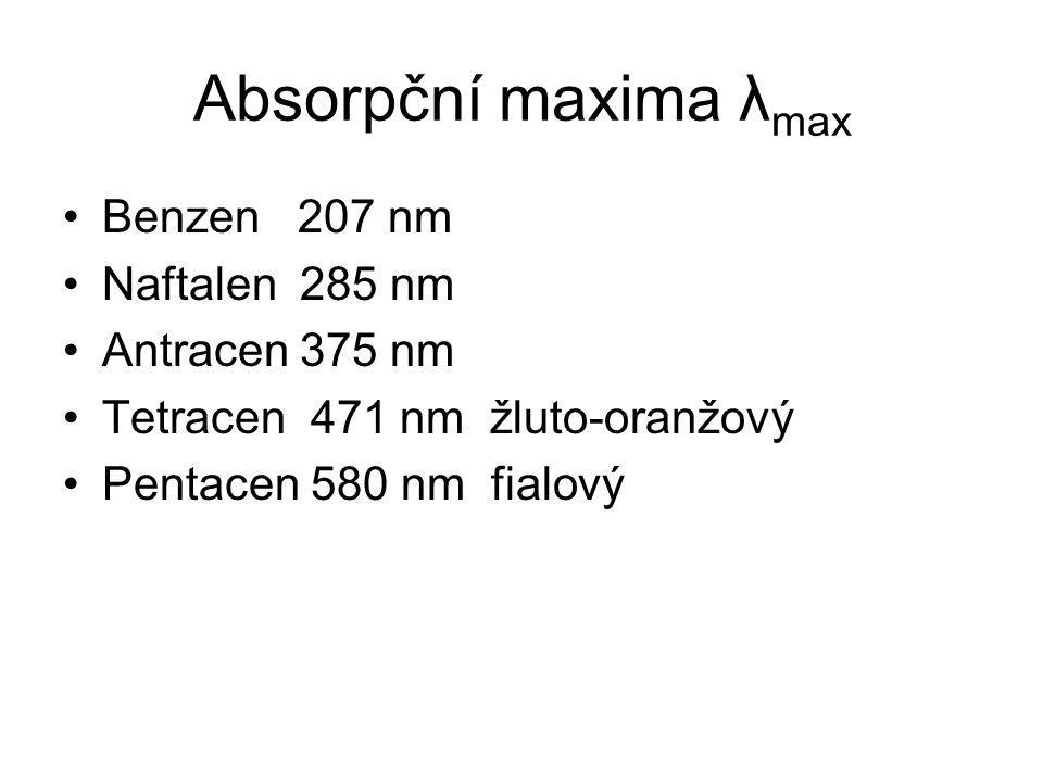 Absorpční maxima λ max Benzen 207 nm Naftalen 285 nm Antracen 375 nm Tetracen 471 nm žluto-oranžový Pentacen 580 nm fialový