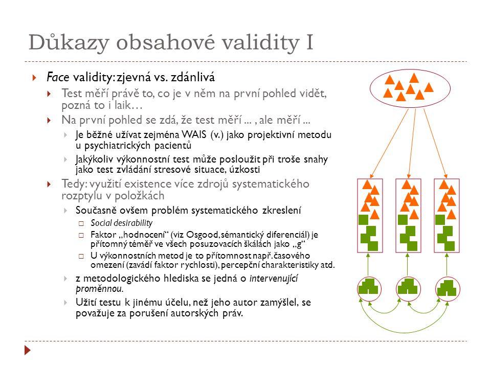 Důkazy obsahové validity II  Sample validity (výběrová...)  Vlastní obsahová validita  Dána reprezentativností výběru položek z domény  Expertní posouzení atd.; konzistence posuzovatelů: koeficient konkordace (Place de la Concorde = Náměstí Svornosti)  Soulad s teorií danými pojmy v plné šíři  Současně princip reliability v některých kvalitativních paradigmatech  Faktorová validita  (Historický) přechod k vícerozměrnému pojetí...