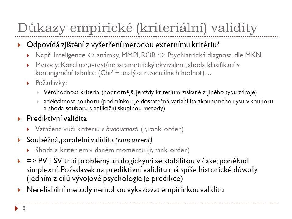 Důkazy empirické (kriteriální) validity  Odpovídá zjištění z vyšetření metodou externímu kritériu?  Např. Inteligence  známky, MMPI, ROR  Psychiat