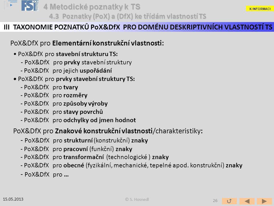 PoX&DfX pro Elementární konstrukční vlastnosti: PoX&DfX pro stavební strukturu TS: - PoX&DfX pro prvky stavební struktury - PoX&DfX pro jejich uspořád