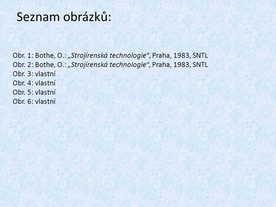 """Seznam obrázků: Obr. 1: Bothe, O.: """"Strojírenská technologie"""", Praha, 1983, SNTL Obr. 2: Bothe, O.: """"Strojírenská technologie"""", Praha, 1983, SNTL Obr."""