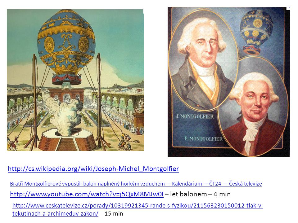 http://cs.wikipedia.org/wiki/Joseph-Michel_Montgolfier Bratři Montgolfierové vypustili balon naplněný horkým vzduchem — Kalendárium — ČT24 — Česká tel
