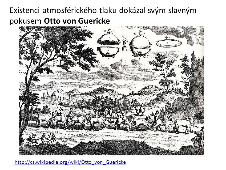 Existenci atmosférického tlaku dokázal svým slavným pokusem Otto von Guericke http://cs.wikipedia.org/wiki/Otto_von_Guericke