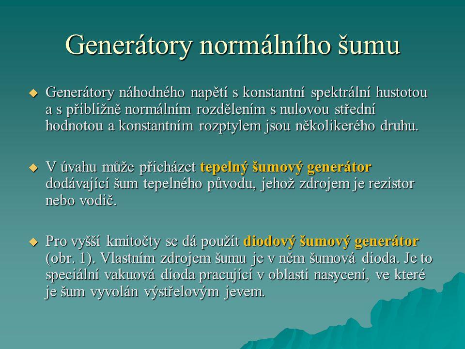 Generátory normálního šumu  Generátory náhodného napětí s konstantní spektrální hustotou a s přibližně normálním rozdělením s nulovou střední hodnoto