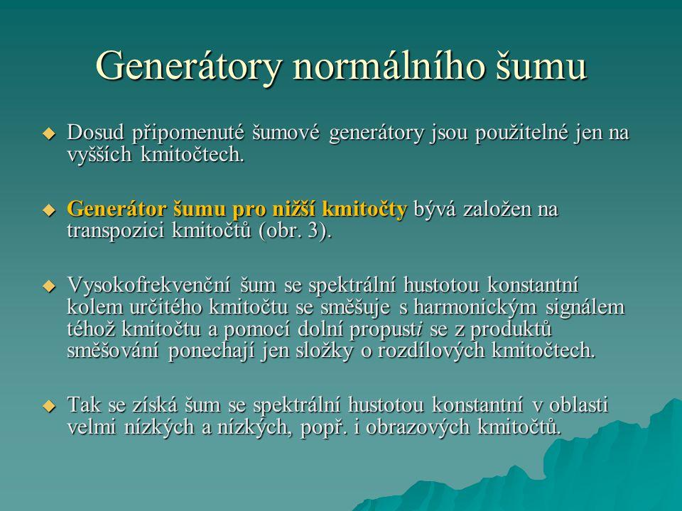 Generátory normálního šumu  Dosud připomenuté šumové generátory jsou použitelné jen na vyšších kmitočtech.  Generátor šumu pro nižší kmitočty bývá z