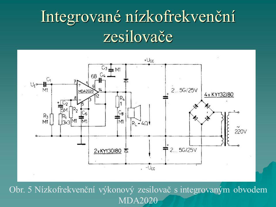 Integrované nízkofrekvenční zesilovače Obr. 5 Nízkofrekvenční výkonový zesilovač s integrovaným obvodem MDA2020
