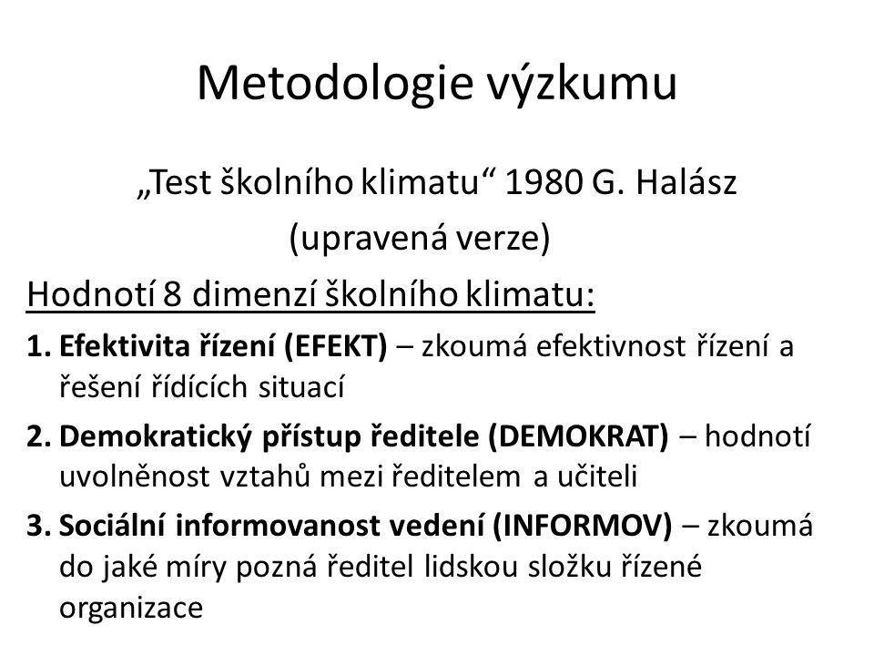 """Metodologie výzkumu """"Test školního klimatu 1980 G."""