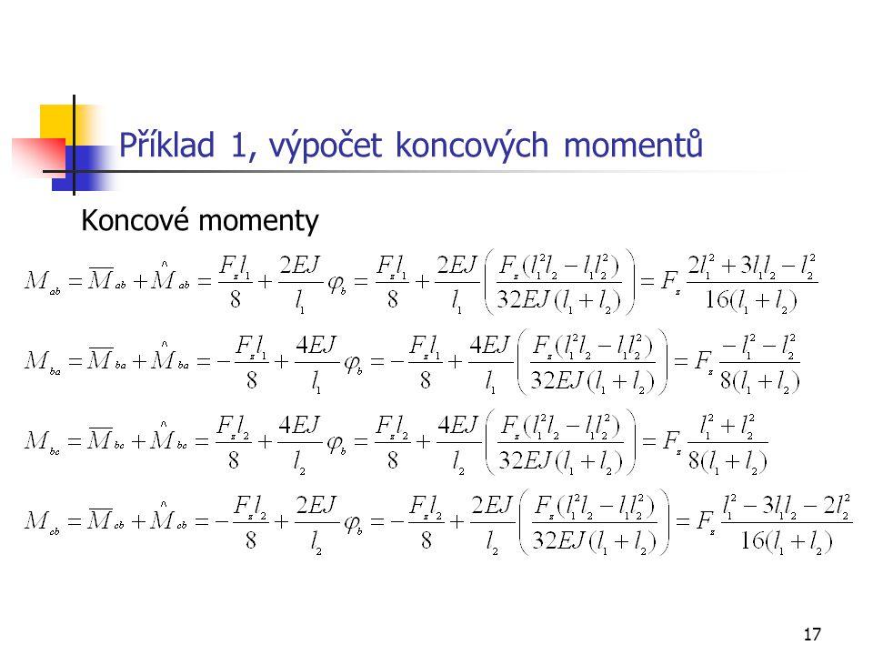 17 Příklad 1, výpočet koncových momentů Koncové momenty