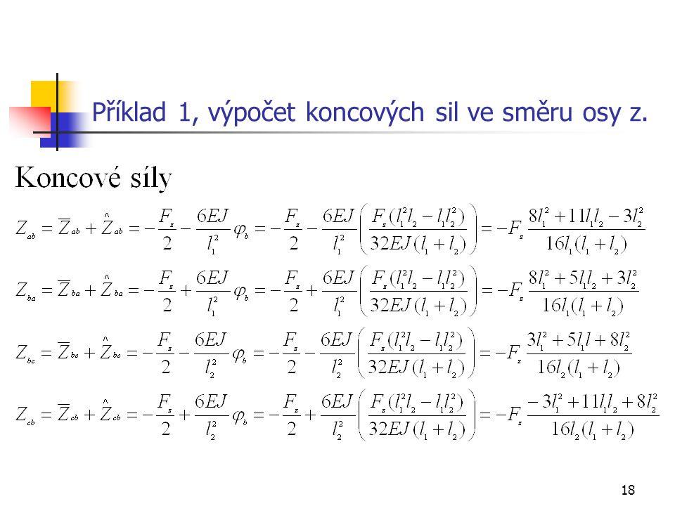 18 Příklad 1, výpočet koncových sil ve směru osy z.