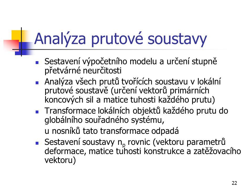 22 Analýza prutové soustavy Sestavení výpočetního modelu a určení stupně přetvárné neurčitosti Analýza všech prutů tvořících soustavu v lokální prutové soustavě (určení vektorů primárních koncových sil a matice tuhosti každého prutu) Transformace lokálních objektů každého prutu do globálního souřadného systému, u nosníků tato transformace odpadá Sestavení soustavy n p rovnic (vektoru parametrů deformace, matice tuhosti konstrukce a zatěžovacího vektoru)