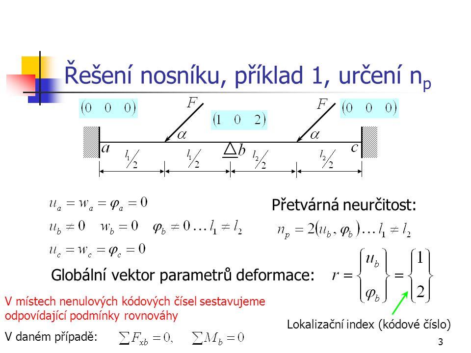 3 Řešení nosníku, příklad 1, určení n p Přetvárná neurčitost: Globální vektor parametrů deformace: Lokalizační index (kódové číslo) V místech nenulových kódových čísel sestavujeme odpovídající podmínky rovnováhy V daném případě: