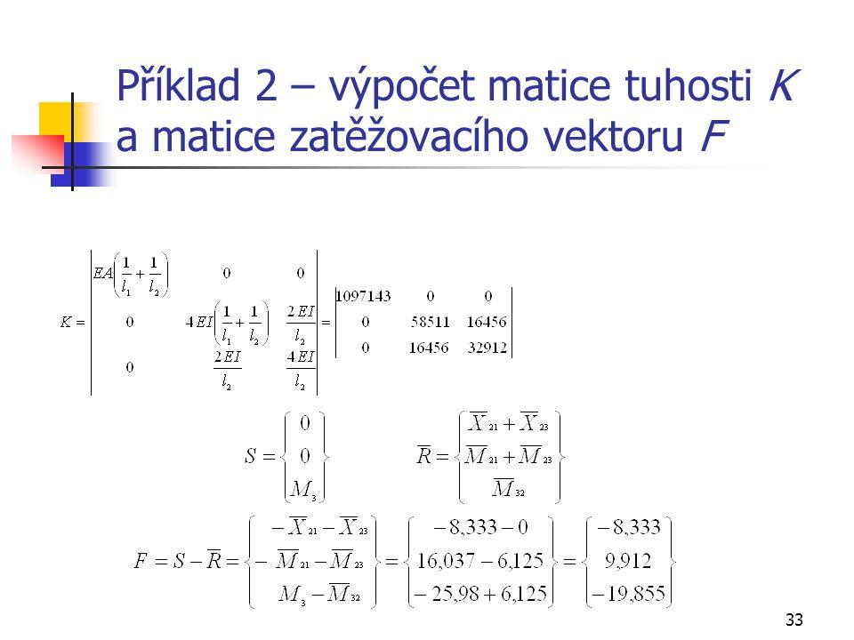 33 Příklad 2 – výpočet matice tuhosti K a matice zatěžovacího vektoru F