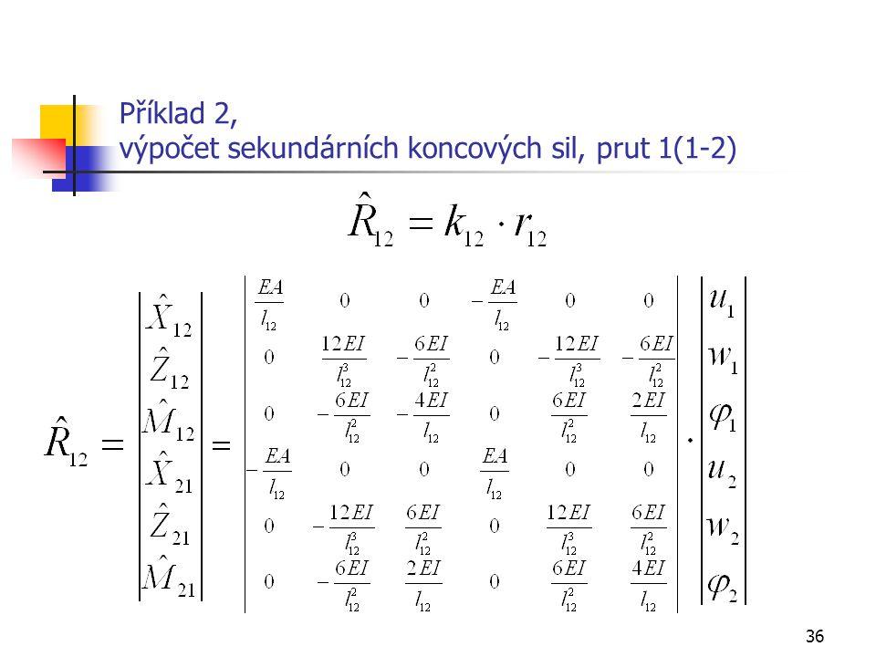 36 Příklad 2, výpočet sekundárních koncových sil, prut 1(1-2)