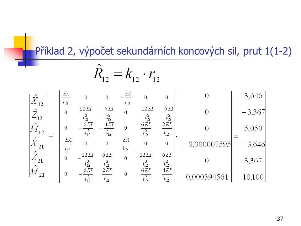 37 Příklad 2, výpočet sekundárních koncových sil, prut 1(1-2)