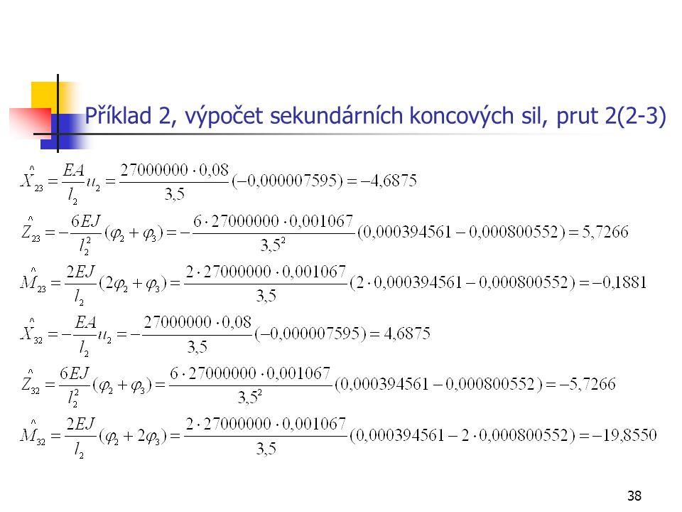 38 Příklad 2, výpočet sekundárních koncových sil, prut 2(2-3)