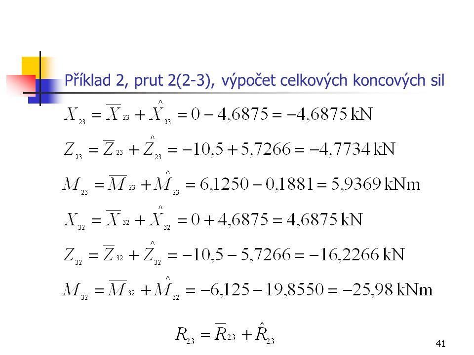 41 Příklad 2, prut 2(2-3), výpočet celkových koncových sil