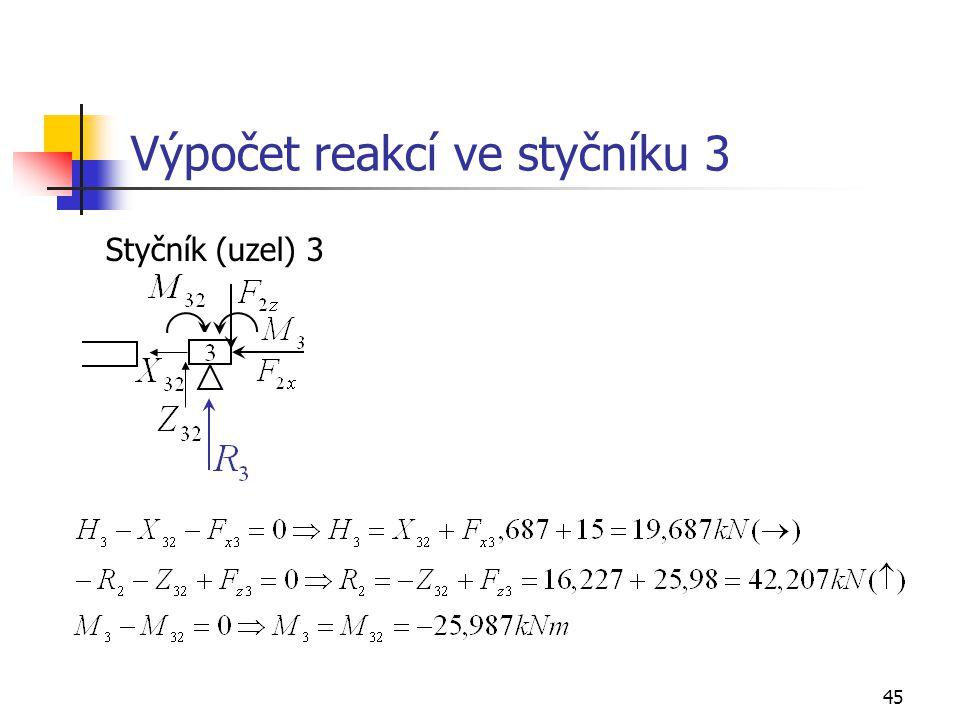 45 Výpočet reakcí ve styčníku 3 Styčník (uzel) 3