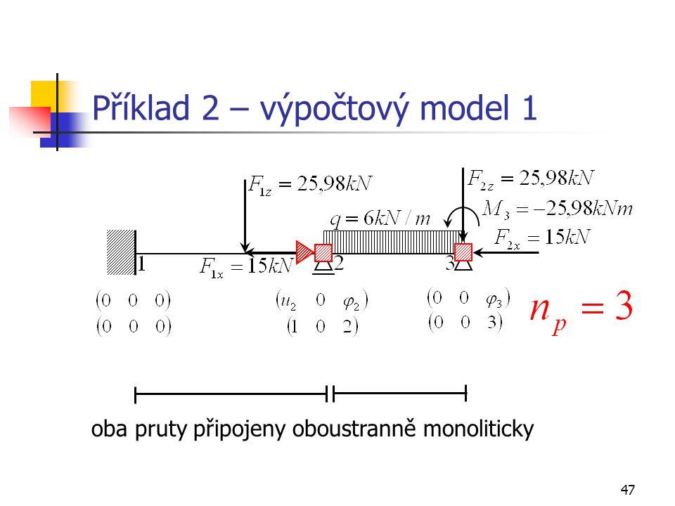 47 Příklad 2 – výpočtový model 1 oba pruty připojeny oboustranně monoliticky
