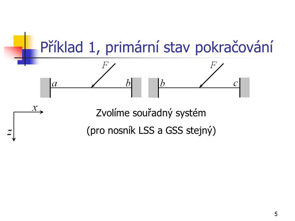 5 Příklad 1, primární stav pokračování Zvolíme souřadný systém (pro nosník LSS a GSS stejný)