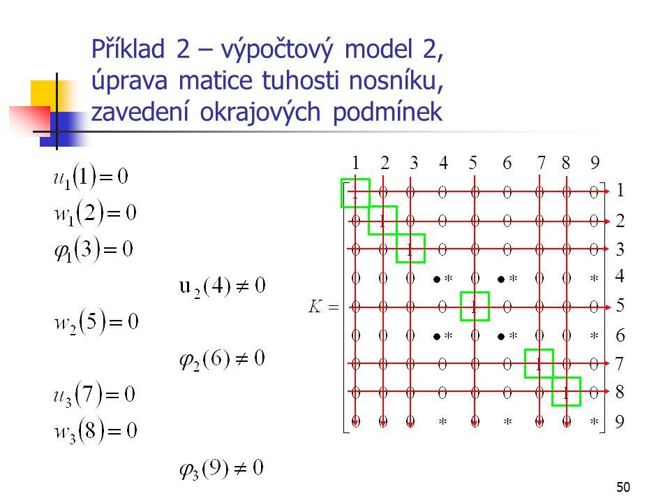 50 1 2 3 4 5 6 7 8 9 2 1 3 4 5 6 7 8 9 Příklad 2 – výpočtový model 2, úprava matice tuhosti nosníku, zavedení okrajových podmínek