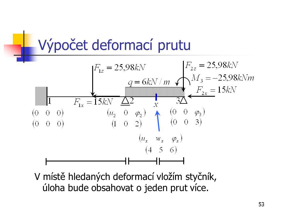 53 Výpočet deformací prutu V místě hledaných deformací vložím styčník, úloha bude obsahovat o jeden prut více.