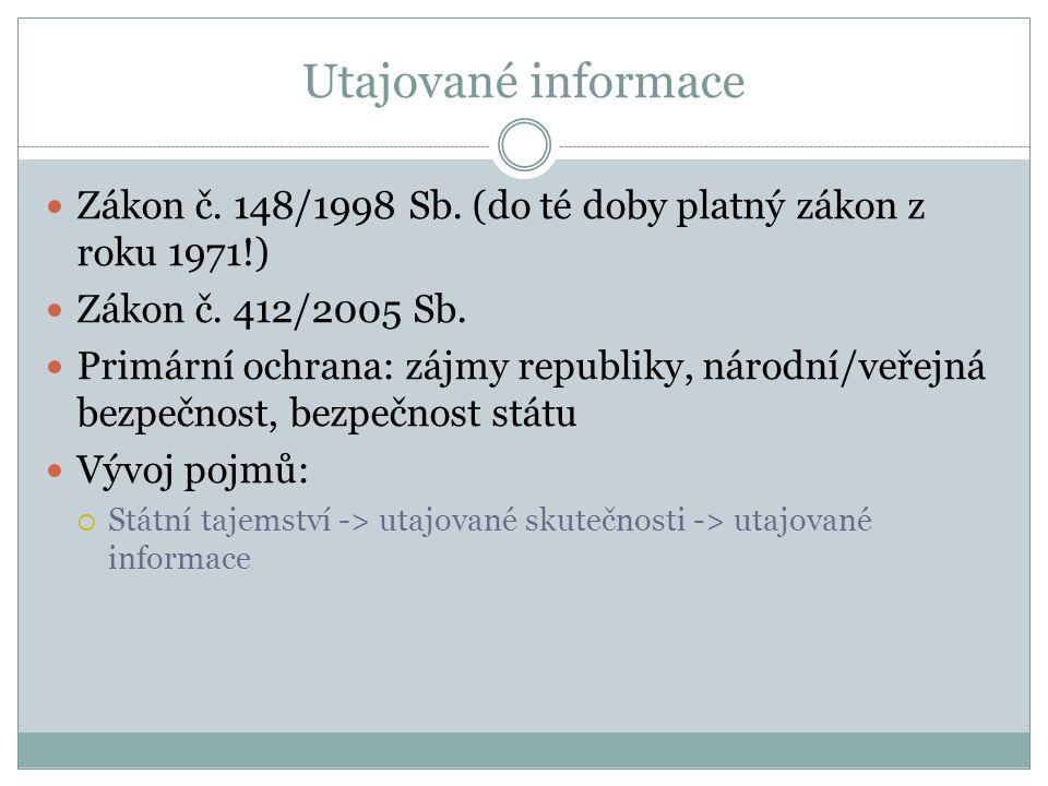 Utajované informace Zákon č. 148/1998 Sb. (do té doby platný zákon z roku 1971!) Zákon č. 412/2005 Sb. Primární ochrana: zájmy republiky, národní/veře