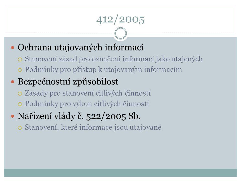 412/2005 Ochrana utajovaných informací  Stanovení zásad pro označení informací jako utajených  Podmínky pro přístup k utajovaným informacím Bezpečno