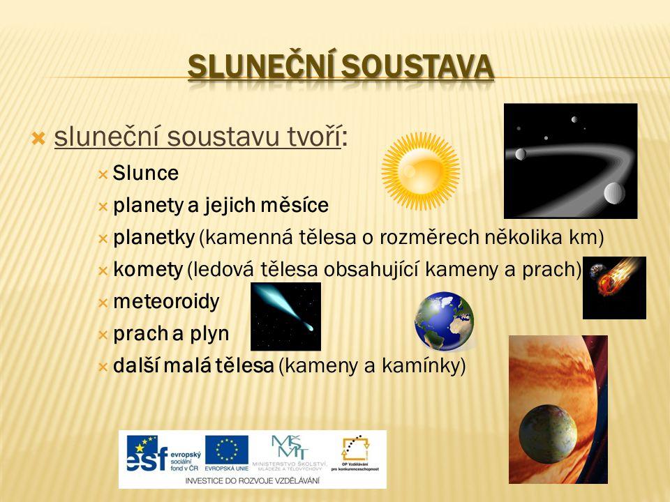  sluneční soustavu tvoří:  Slunce  planety a jejich měsíce  planetky (kamenná tělesa o rozměrech několika km)  komety (ledová tělesa obsahující k