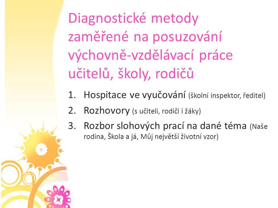 Diagnostické metody zaměřené na posuzování výchovně-vzdělávací práce učitelů, školy, rodičů 1.Hospitace ve vyučování (školní inspektor, ředitel) 2.Roz