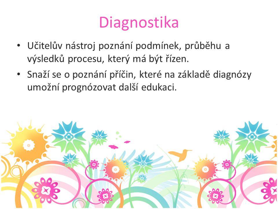 Diagnostika Učitelův nástroj poznání podmínek, průběhu a výsledků procesu, který má být řízen. Snaží se o poznání příčin, které na základě diagnózy um
