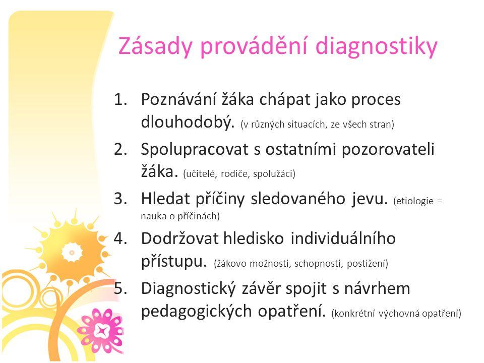 Zásady provádění diagnostiky 1.Poznávání žáka chápat jako proces dlouhodobý. (v různých situacích, ze všech stran) 2.Spolupracovat s ostatními pozorov