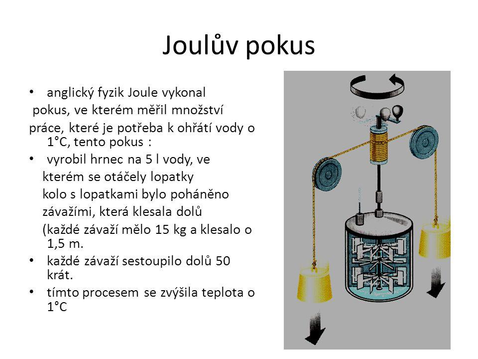 Joulův pokus anglický fyzik Joule vykonal pokus, ve kterém měřil množství práce, které je potřeba k ohřátí vody o 1°C, tento pokus : vyrobil hrnec na