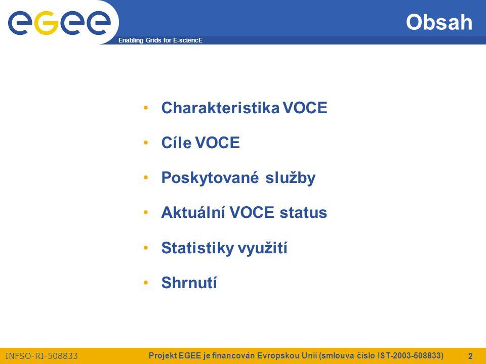 Enabling Grids for E-sciencE INFSO-RI-508833 Projekt EGEE je financován Evropskou Unií (smlouva číslo IST-2003-508833) 3 Charakteristika VOCE VOCE – Virtuální organizace pro střední Evropu VO je dynamickým rezervoárem zdrojů & uživatelů z různých domén sdružených za specifickým účelem –poskytuje kompletní gridovou infrastrukturu v rámci projektu EGEE –oficiálně registrována jako jediná Regionální VO pro region střední Evropy (CE) –založena na regionálním principu  VOCE pokrývá celou CE federaci  klíčové služby spravovány sdružením CESNET  zdroje jsou poskytovány několika institucemi z CE regionu (tyto zdroje jsou dostupné všem registrovaným uživatelům VOCE)
