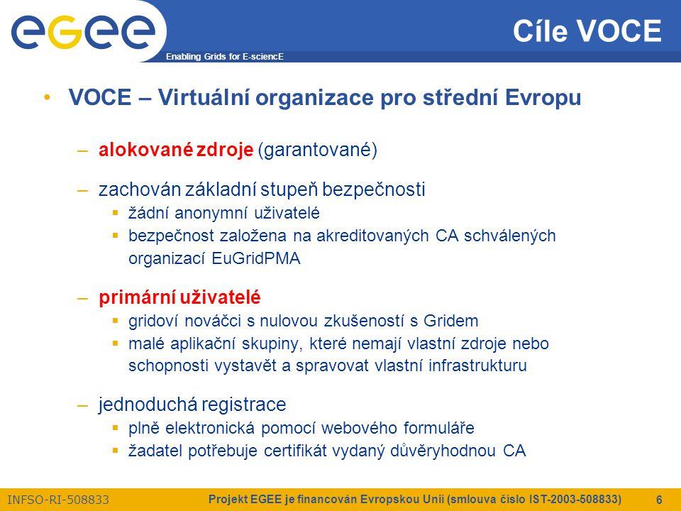 Enabling Grids for E-sciencE INFSO-RI-508833 Projekt EGEE je financován Evropskou Unií (smlouva číslo IST-2003-508833) 6 Cíle VOCE VOCE – Virtuální organizace pro střední Evropu –alokované zdroje (garantované) –zachován základní stupeň bezpečnosti  žádní anonymní uživatelé  bezpečnost založena na akreditovaných CA schválených organizací EuGridPMA –primární uživatelé  gridoví nováčci s nulovou zkušeností s Gridem  malé aplikační skupiny, které nemají vlastní zdroje nebo schopnosti vystavět a spravovat vlastní infrastrukturu –jednoduchá registrace  plně elektronická pomocí webového formuláře  žadatel potřebuje certifikát vydaný důvěryhodnou CA
